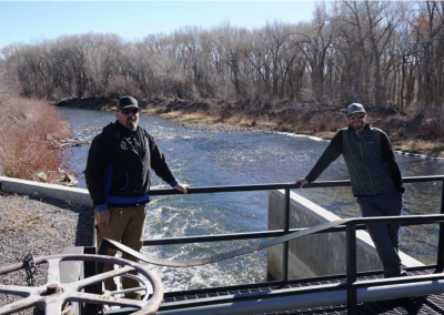 Conejos Water Conservancy District manager Nathan Coombs, left, and Kevin Terry...